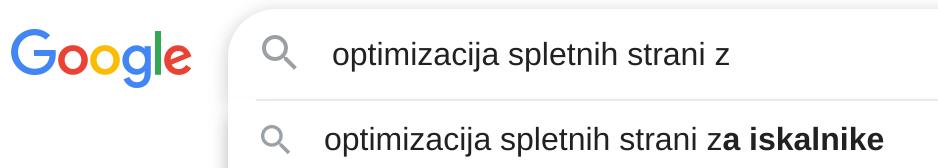 google autosuggest dodatne kljucne besede