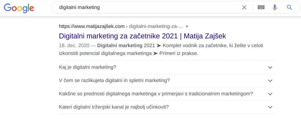 optimizacija spletnih strani digitalni marketing