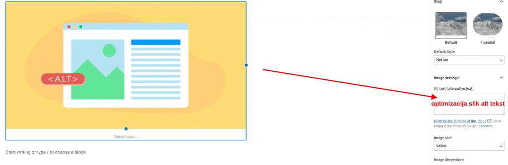 optimizacija slik alt tekst