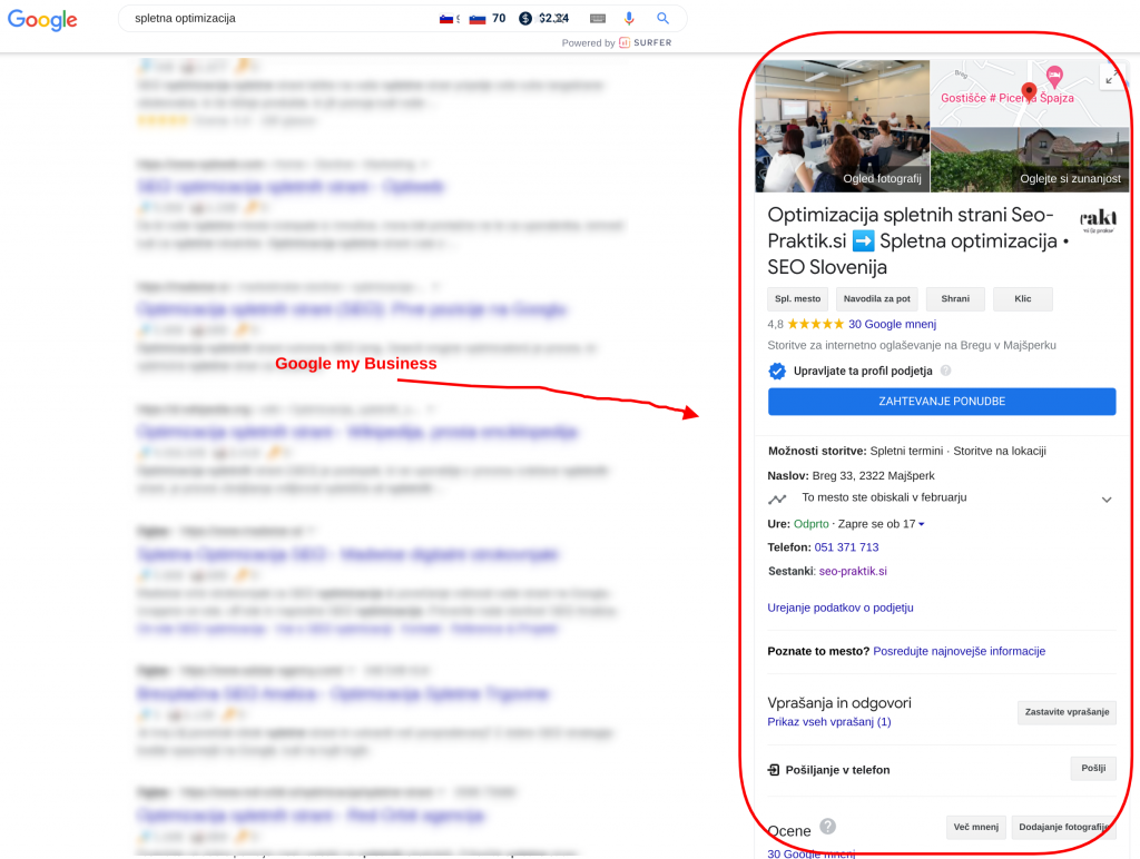 optimizacija spletni strani google my business seo praktik