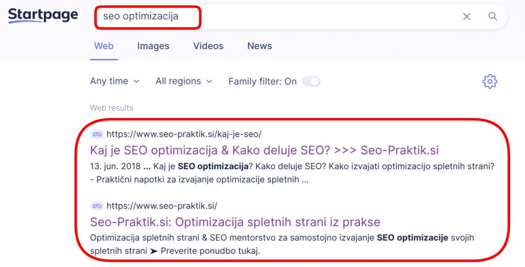 seo optimizacija startpage